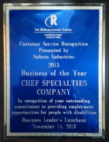 Chef Specialties Company honored by The Rehabilitation Center of Olean, NY.